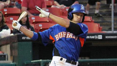 Matt den Dekker launched one of four Bisons homers in the eighth inning Tuesday.